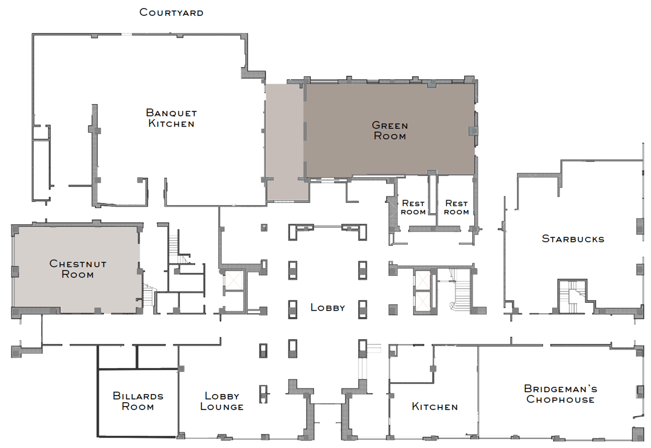 floor plan diagram of the wedding venue options at the read house hotel