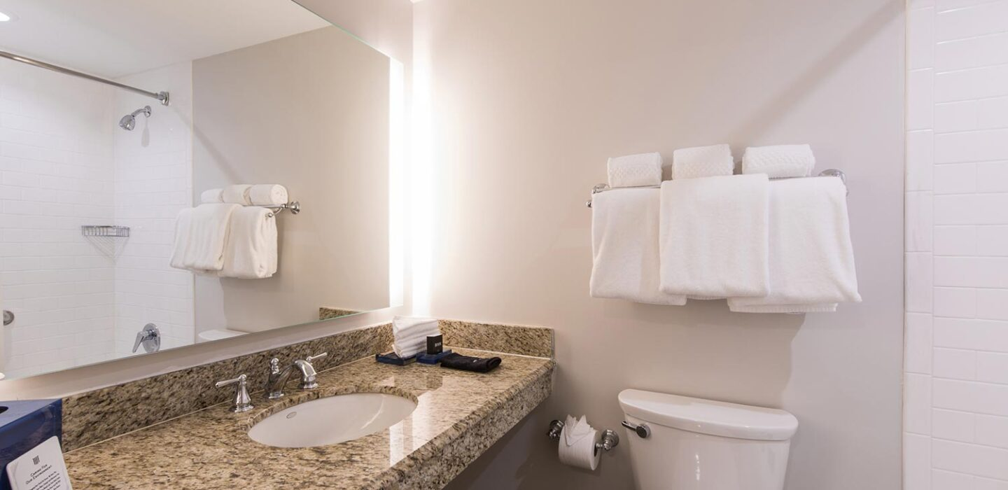 bathroom with a single vanity sink next to a toilet and a bathtub