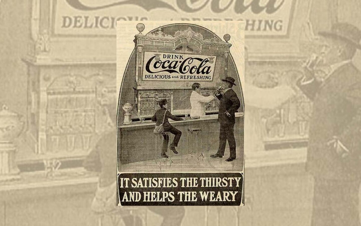 historical sepia photo of three people at a coca cola themed bar