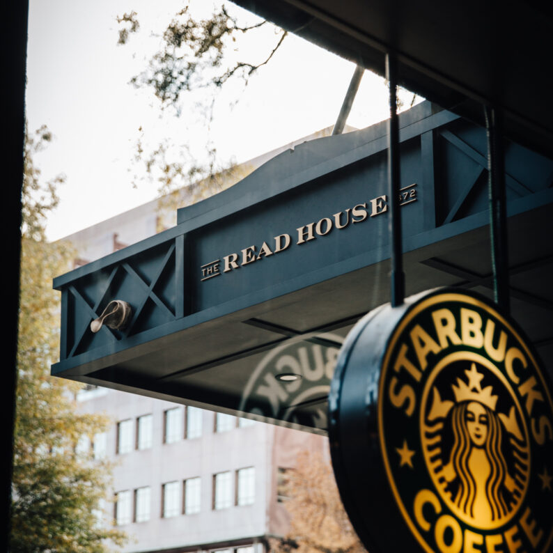 Starbucks sign in window at The Read House Hotel