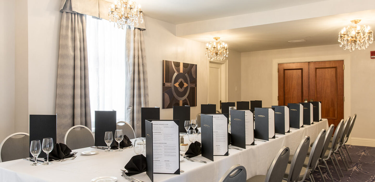 boardroom with small chandeliers and a long table with chairs and menus